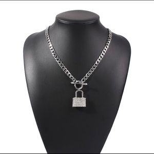 Diamond lock pendant necklace
